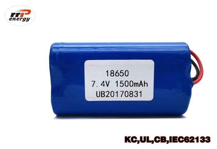 7.4V 1500mAh Rechargeable Li Ion Battery Pack INR18650 With UL KC CB PSE Approval